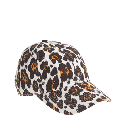 Canvas leopard print baseball cap