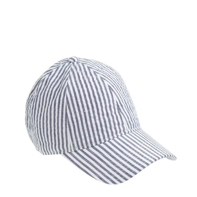 Seersucker baseball cap
