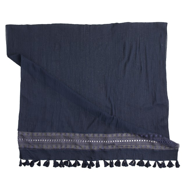 Embroidered panel cotton scarf
