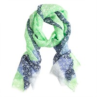 Windowpane floral scarf