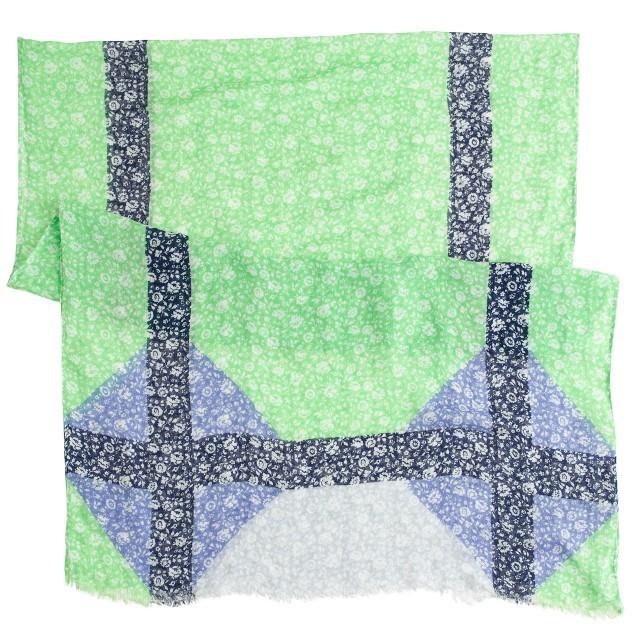 Windowpane floral scarf
