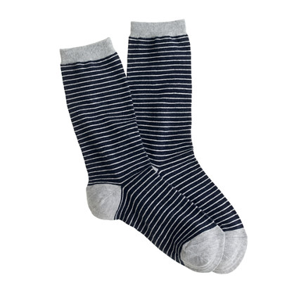 Navy stripe trouser socks