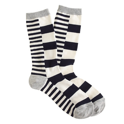 Block-stripe trouser socks