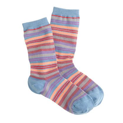 Multicolor-striped trouser socks