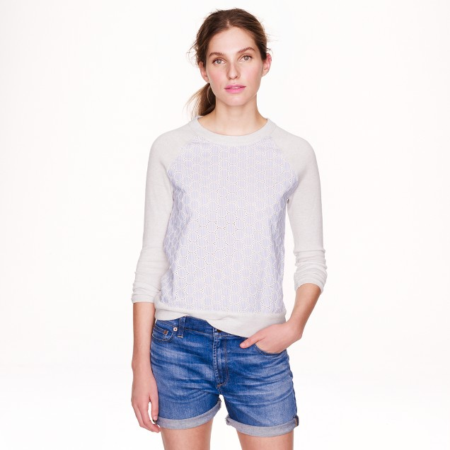 Merino wool sweater in seersucker eyelet