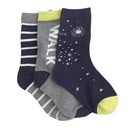 Boys' glow-in-the-dark trouser socks three-pack