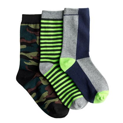 Kids' trouser socks three-pack in camo