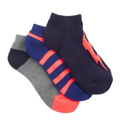 Kids' lightning bolt ankle socks three-pack