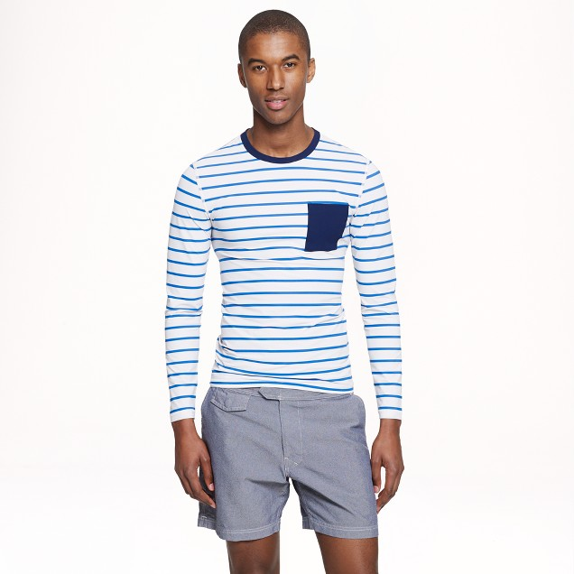 Long-sleeve rash guard in bisque blue stripe