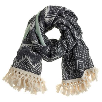 Diamond ikat fringe scarf