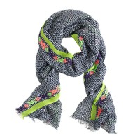 Embroidered-trim printed scarf