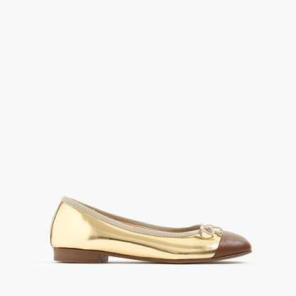 Girls' metallic cap-toe ballet flats