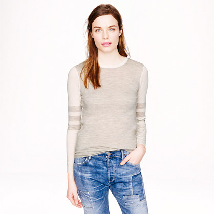 Collection featherweight cashmere long-sleeve T-shirt in varsity stripe