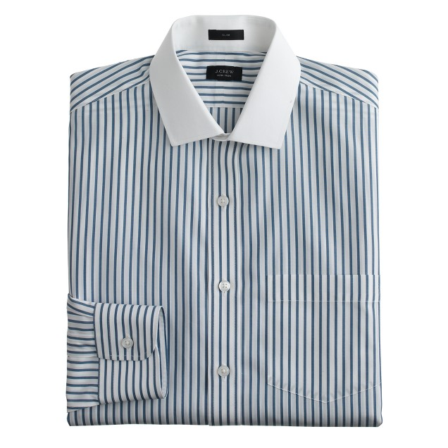 Ludlow Traveler shirt in echo blue stripe
