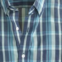 Lightweight chambray shirt in deep ultramarine blue plaid