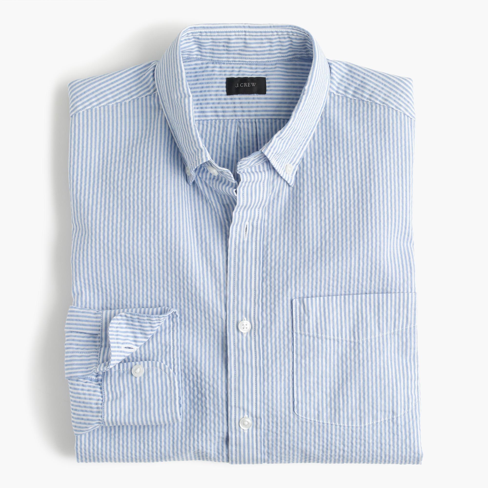 slim seersucker striped shirt men slim shirt shop j crew. Black Bedroom Furniture Sets. Home Design Ideas