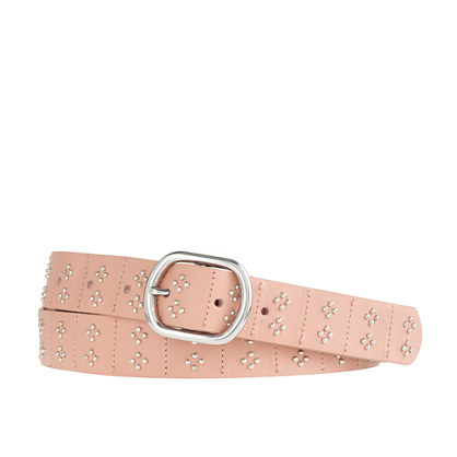 Shiny studded leather belt
