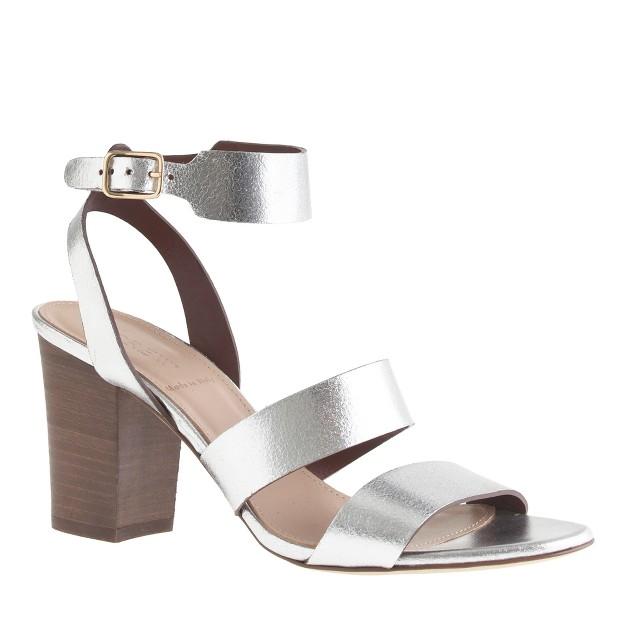 Aubrey mirror metallic midheel sandals