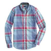 Indian cotton shirt in serene blue plaid