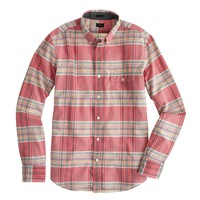 Indian cotton shirt in rhone red plaid