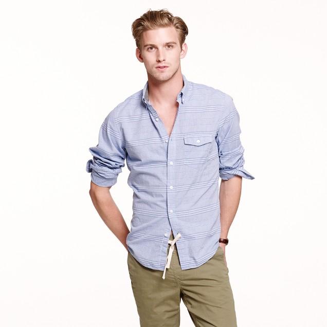 Slim Indian cotton shirt in horizontal stripe