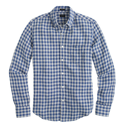 Slim Irish linen shirt in gingham