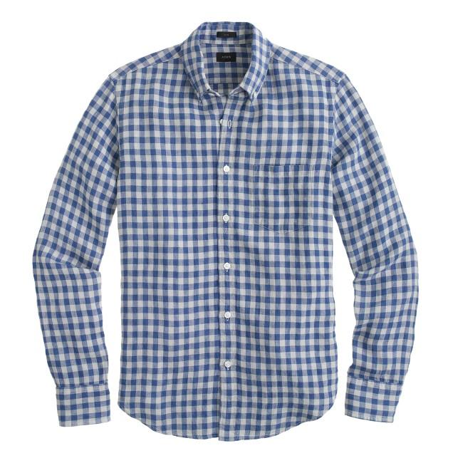Slim Irish linen shirt in gingham