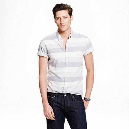 Short-sleeve vintage oxford shirt in horizontal stripe