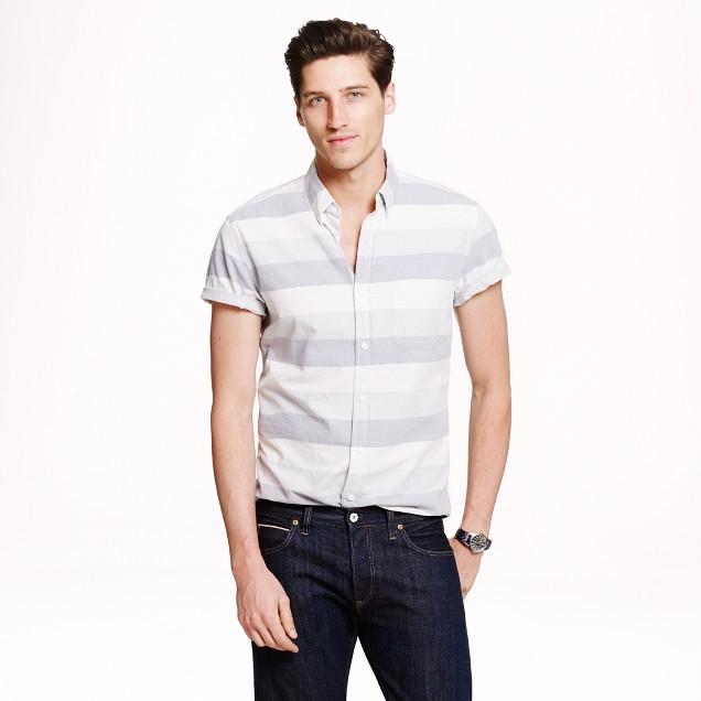 Short-sleeve vintage oxford shirt in horizontal stripe