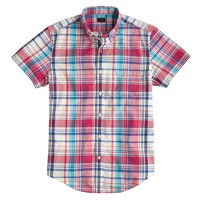 Short-sleeve vintage oxford shirt in rose plaid