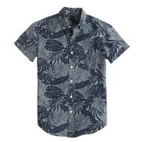 Short-sleeve shirt in printed chambray