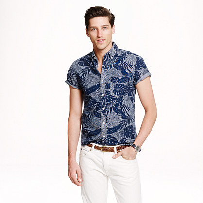 Short-sleeve shirt in printed chambray