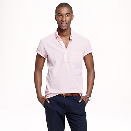Short-sleeve popover in seersucker