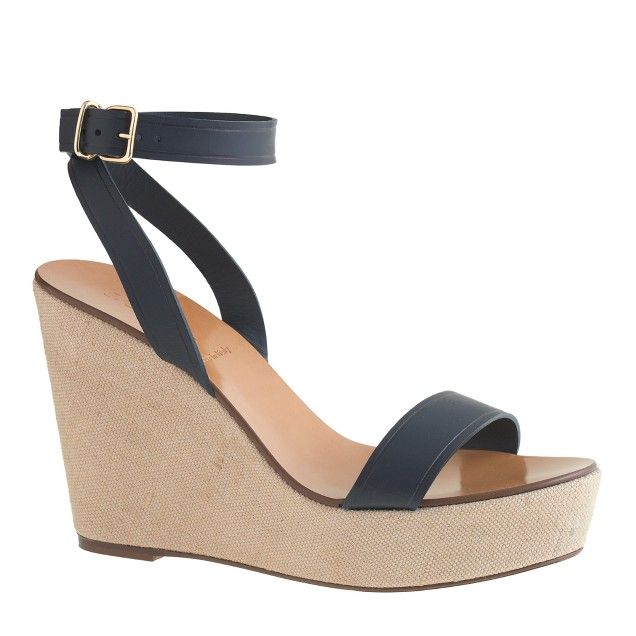 Vachetta leather canvas wedges