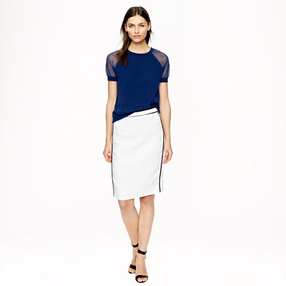 Pencil skirt in herringbone linen