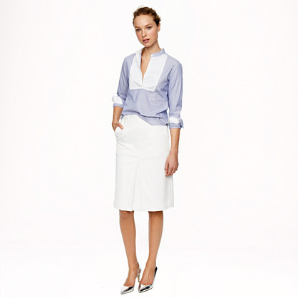 Patch-pocket skirt in stretch cotton