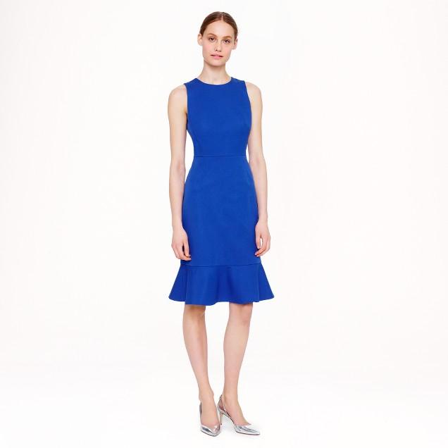 Ruffle-hem dress in stretch cotton