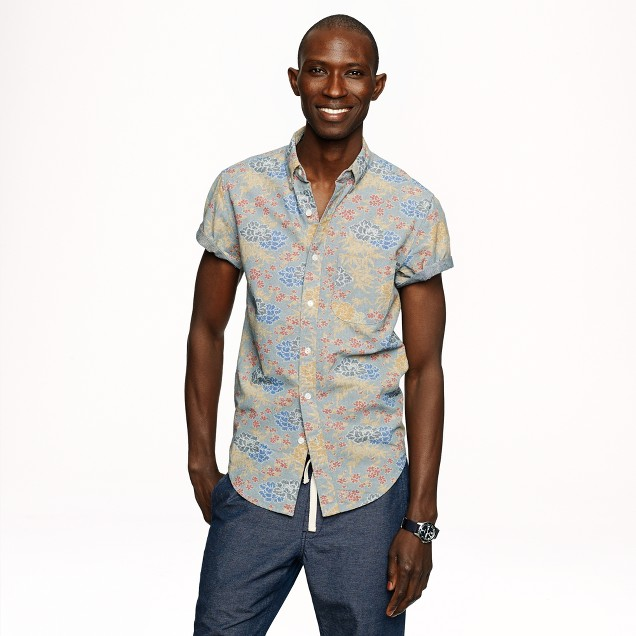 Short-sleeve shirt in faded floral print