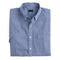Short-sleeve shirt in gingham seersucker