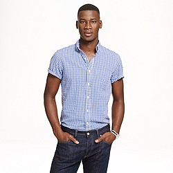 Short-sleeve shirt in gingham seersucker