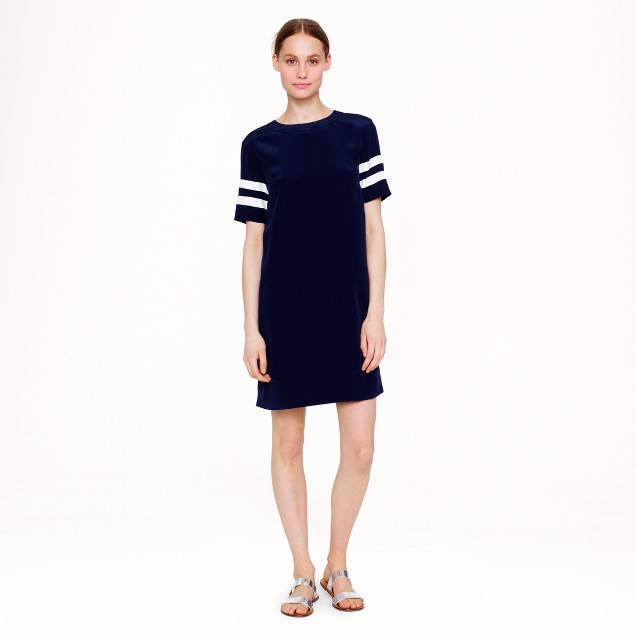 Silk stripe-sleeve dress