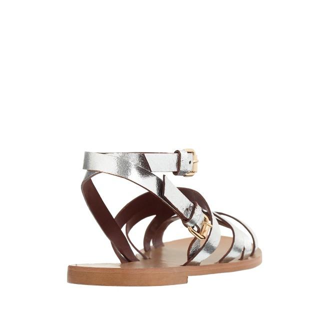 Maren metallic leather cross-strap sandals