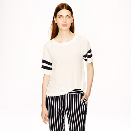 Silk stripe-sleeve T-shirt