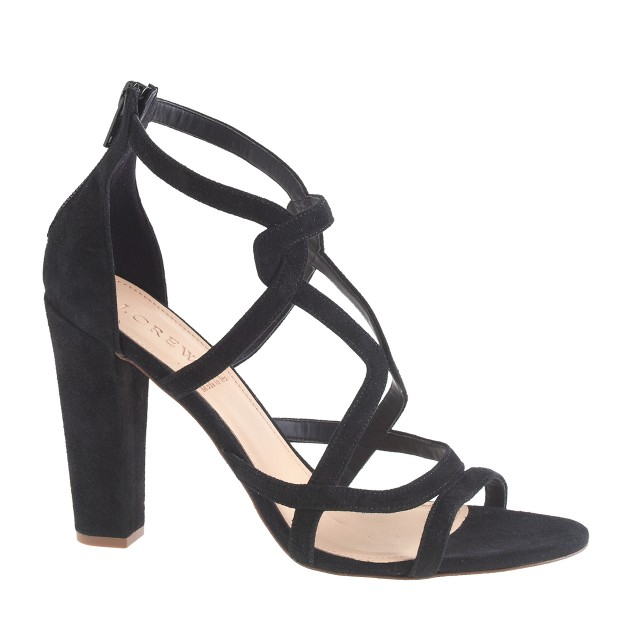 Suede geometric high-heel sandals