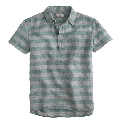 Wallace & Barnes short-sleeve popover in blanket stripe Irish cotton-linen