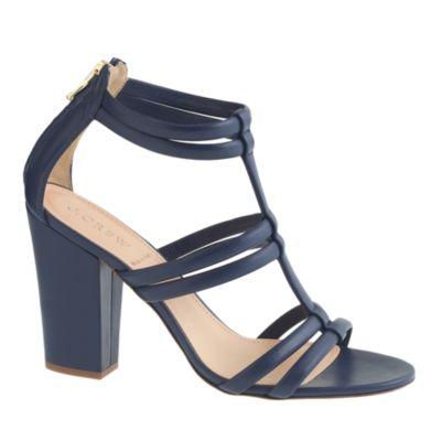 Back-zip high-heel sandals :