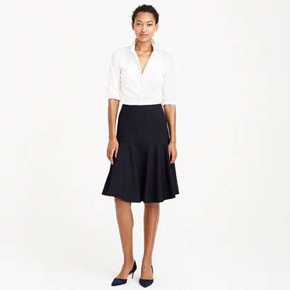 Flare skirt in stripe Super 120s wool