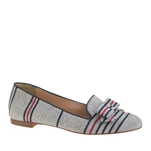 Cleo stripe canvas loafers with bow