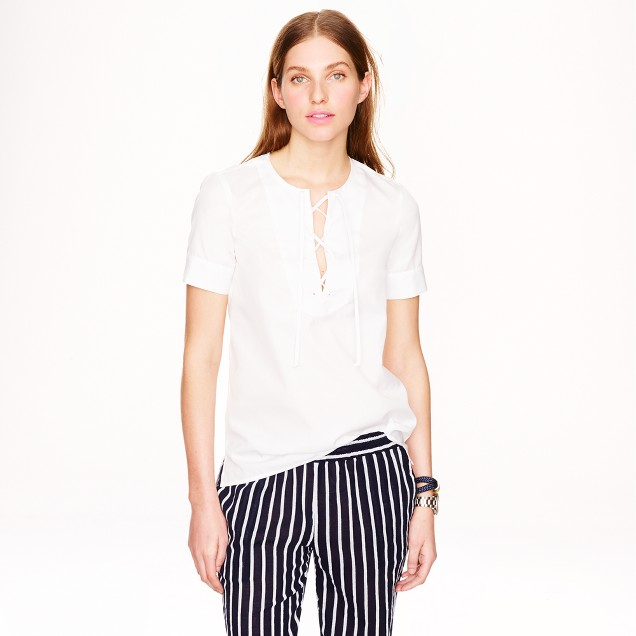 Lace-up sateen T-shirt