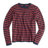 Cotton beach sweater in heather pepper stripe